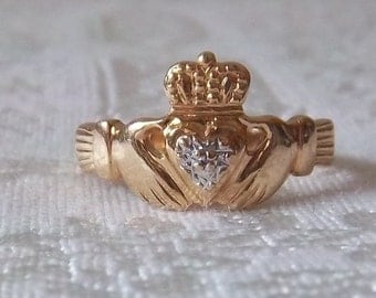 Irish Claddagh Wedding Friendship Love Loyalty Heart Crown Promise 10k Gold Ring