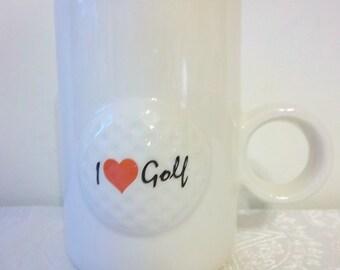 I Heart Golf Mug with Raised Design and Circular Handle