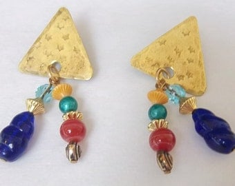 Punched Brass and Glass Bead Earrings
