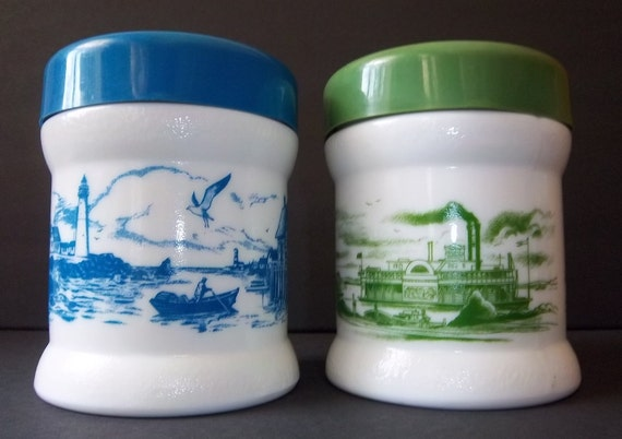 RARE Nautical And Locomotive Milk Glass Canisters: Lighthouse - Train - Mississippi Steamboat - Fathers Day Finds Vintage Home Kitchen Decor