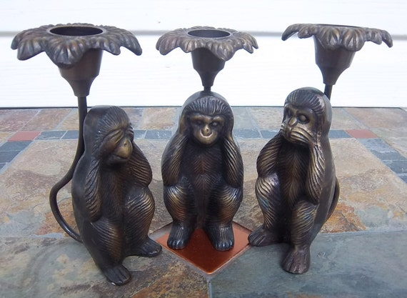 Lot of Three Brass Monkey Candlesticks See No Evil Hear No Evil Speak No Evil