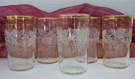 1950s Double Gold Banded Etched Juice Glasses Lot of Five Gold Rimmed