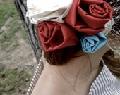RESERVED LISTING for Kia - wedding bird cage veil, red, ivory & teal rosettes