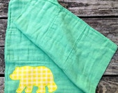 Green and Gold Bear Burp Cloth