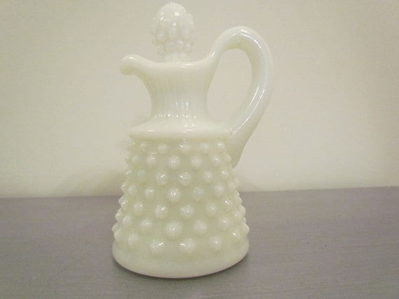 50% off Summer Sale - Hobnail Milk Glass Cruet with Stopper