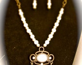 Handmade Vintage Pearls And Antiqued Brass Chain Necklace with Matching Earrings