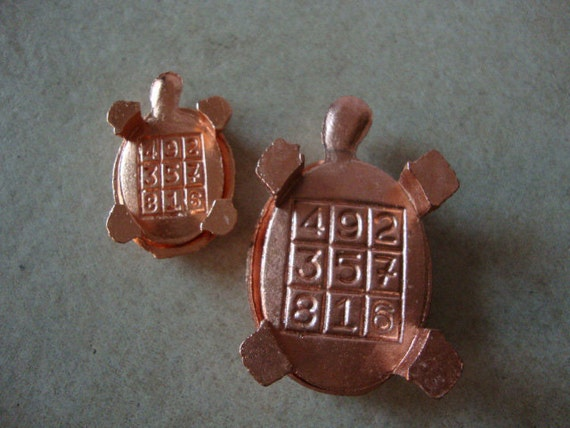 2 miniature turtles with magic square  table top art sculpture in zinc copper color lucky charms - free gift wrapping