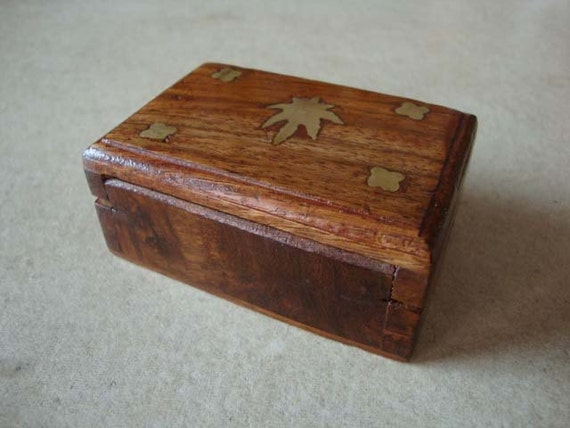 teak wood miniature mini box  with brass inlay - free gift wrapping and personalized message card