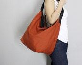 BagStory ODA Cross Body Messenger - Unisex Messenger Bag or Single Sling Shoulder Bag, Burnt Orange and Black