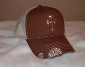 Brown Distressed hat with Cross and bill covered with Swarovski crystals
