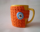 Crochet  Tea Cup COZY / orange Coffee Cup Mug COZY / Sleeve with multicolor flower button Ready to ship
