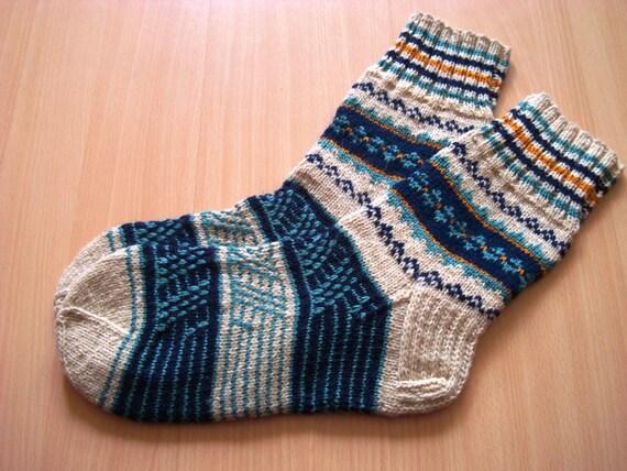 Hand knitted Wool SOCKS Men's Size US 9 - 10 EU 42 - 43