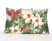 Hollywood Magnolia - PAIR 1930s cotton and linen cushion covers (inserts not included)