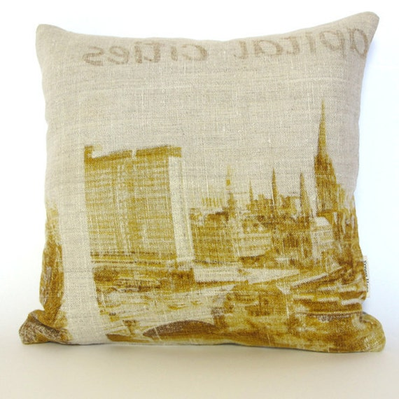 RESERVED for Cathy - Capital Cities III - vintage souvenir linen cushion cover (41cm insert included)