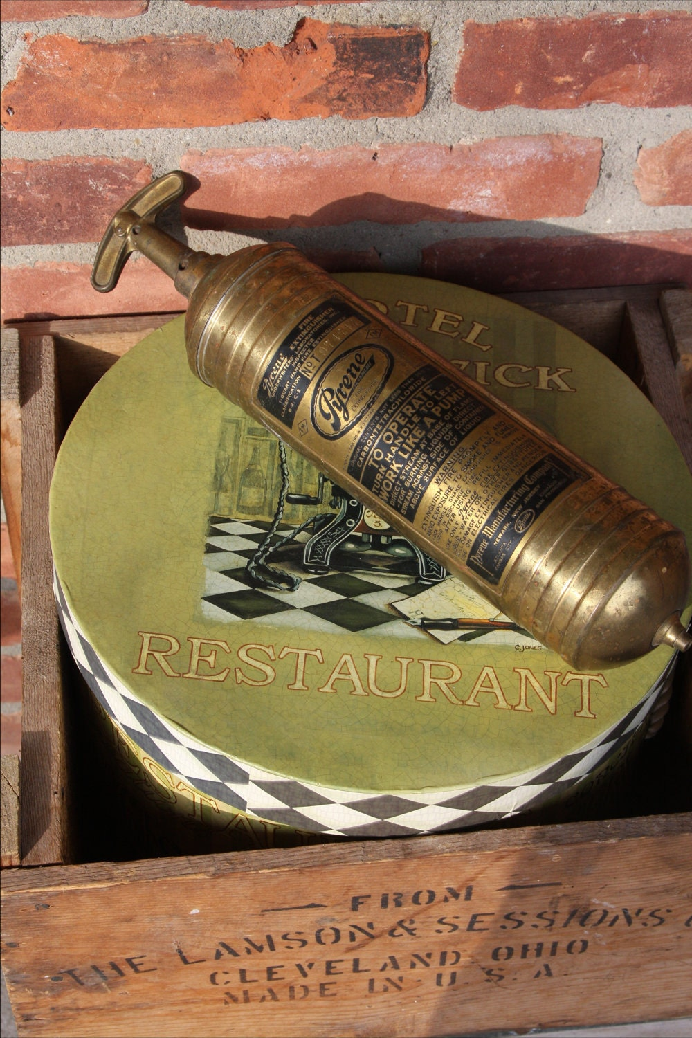 San Francisco Ts >> Antique Pyrene brass fire extinguisher
