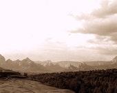 WILD WEST - photograph - dramatic sky clouds - sedona arizona - natural landscape - mountains sky - sepia