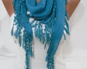 Blue Cotton Shawl Scarf - Headband - Cowl with Lace Edge - Spring Trends