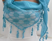 Women  turquoise Blue Scarf - Headband - Cowl with Lace Edge