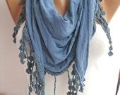 Blue Elegance Shawl/Scarf with Lacy Edge