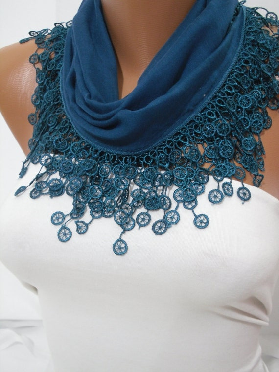 Navy Blue Deep Teal Cotton Shawl/ Scarf Headband - Cowl with Lace Edge - Spring Trends