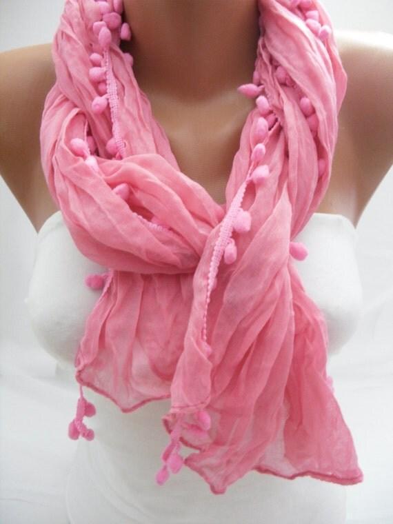 Women pink blue Shawl Scarf - Headband Necklace Cowl