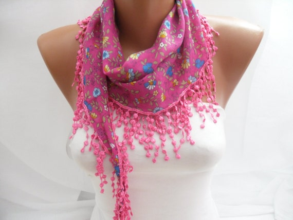 Women Pink Cotton Scarf - Headband - Cowl with Lace Edge - Multicolor- Spring& Summer Trends