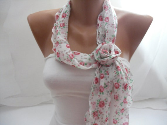 Chiffon Scarf - with flower clips- Headband -Hair accessories