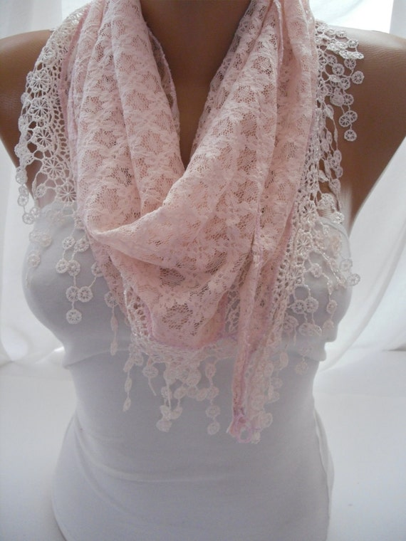 Pink Lace Shawl / Scarf - Headband - Cowl with Lace Edge