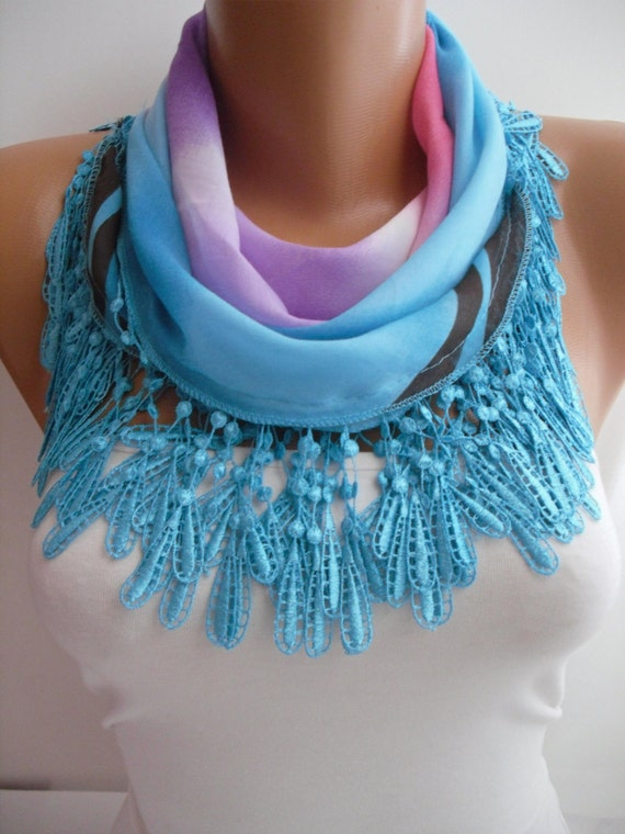Multicolor Cotton Shawl /Scarf - Headband - Cowl with Lace Edge