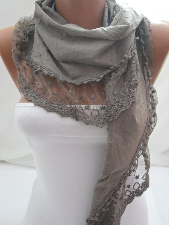 Darkhaki Shawl/Scarf Cotton Shawl Scarf  Cowl headband with Lace Edge