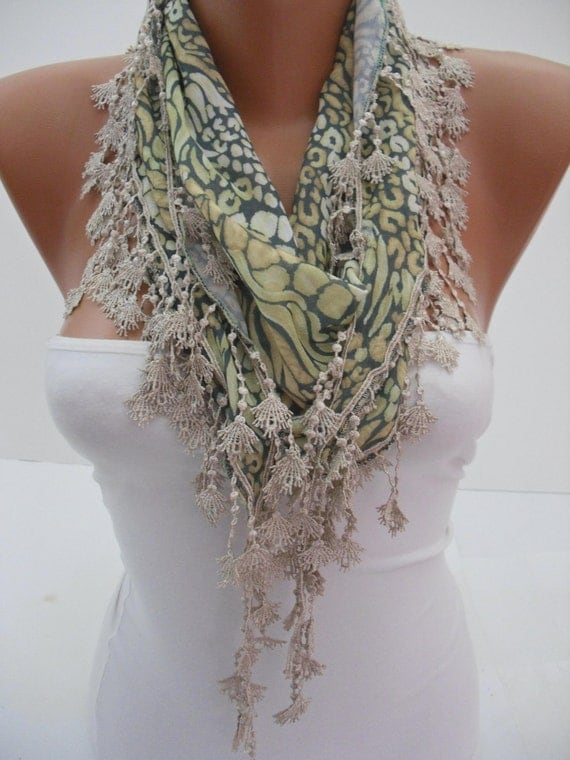 Leopard Shawl / Scarf - Headband - Cowl with Lace Edge