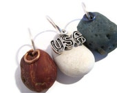 Red, White, Blue Beachstones and Slag Glass Beads on Copper and Silver Jumprings for your DIY Supply