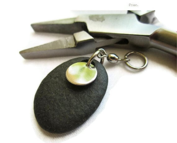 TWENTY CENT SPECIAL Chrome Stoned - Chrome on Black Beachstone from Lake Michigan - Pendant or Charm or Keychain