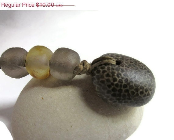 Leopard Pattern Dark Brown Favosite Fossil from Lake Michigan w African Glass Krobo Beads and Organic Hemp Cord Necklace