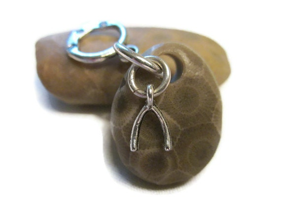 Lucky Petoskey Stone - Rare Ancient Fossil Pendant with Tiny Silver Wishbone with Silver Filled Jumpring and Pendant Hanger