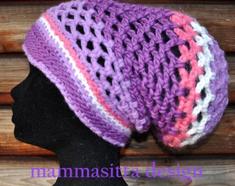 FREE SHIPPING! Versatile network-crochet  tam in violet-pink and white