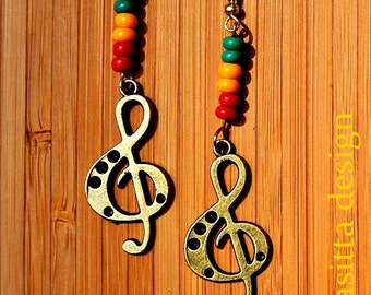 Treble-clef-earrings (Jamaica or Rasta)