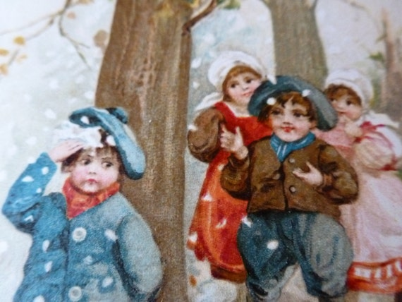 Best Christmas Wishes,  Winsch 1913  Children in the Woods. So sweet.