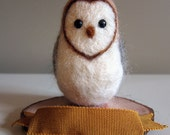 Wool Needle Felted Barn Owl with Personalized Name Banner - MUSTARD (can be cake topper)