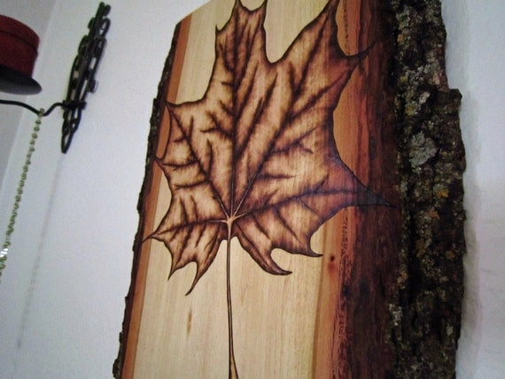 Woodland Art: Maple Leaf - Pyrography Log Cabin Decor