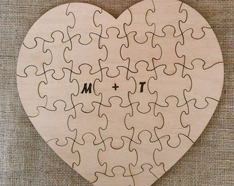 Custom Wood Wedding Guest book Puzzle - 33 pieces