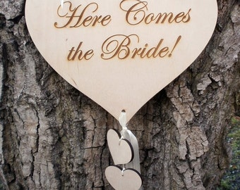 Weddings Decor Signage Here Comes The Bride Flower Girl or Ringbaerer Photo Props Ceremony Decorations