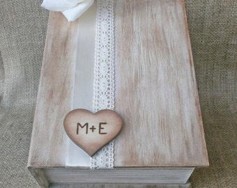 Rustic Card Box Wooden Book Styled Wedding Reception Card Holder Personalized Wooden Heart Christmas Gift