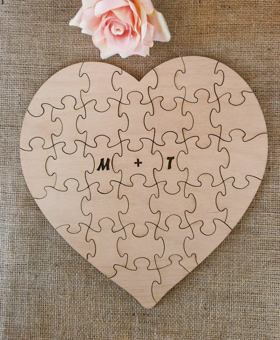 Wedding Guestbook Puzzle Reception Decor Guest Book Alternative Heart Wood Puzzles - 80 pieces