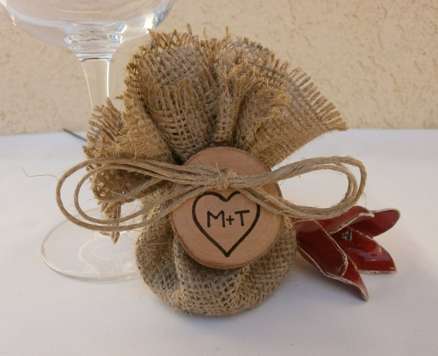 Rustic Vintage Wedding Decor Burlap Favor Bag Rustic Wedding Bridal Shower Engagement