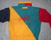 crazy cool 1980s vintage nike air jacket hoodie hip hop retro rasta medium