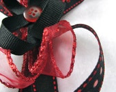 Elegant Black & Red Ribbon Hair Clip with Button - Large Adult or Children - Ready to Ship