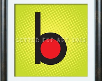 Alphabet Pop Art Print Using Billboard Magazine logo Letter B