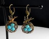 Bird Earrings, Earrings, Bird, Egg Nest Earrings, Vintage Inspired, Bird Nest Earrings