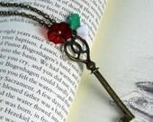 Heart Shape HER SKELETON key Turquoise Leaf Botanical necklace